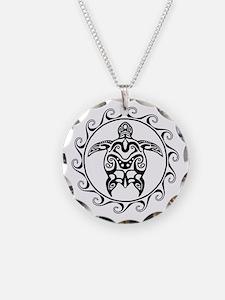 Black Tribal Turtle Sun Necklace