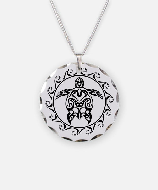 Black Tribal Turtle Sun Necklace