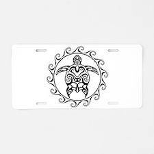Black Tribal Turtle Sun Aluminum License Plate