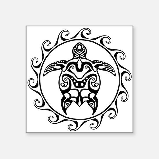 Black Tribal Turtle Sun Sticker