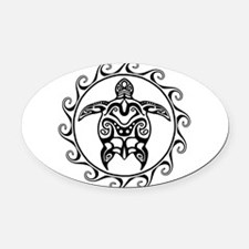 Black Tribal Turtle Sun Oval Car Magnet
