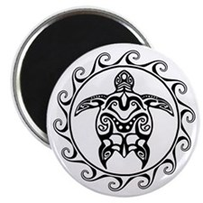 Black Tribal Turtle Sun Magnets