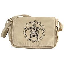 Black Tribal Turtle Sun Messenger Bag