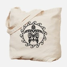 Black Tribal Turtle Sun Tote Bag