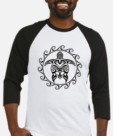 Black Tribal Turtle Sun Baseball Jersey