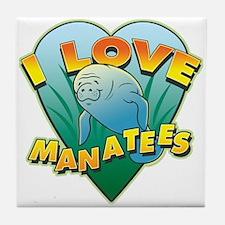 I Love Manatees Tile Coaster