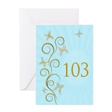 103rd birthday, with golden butterflies Greeting C