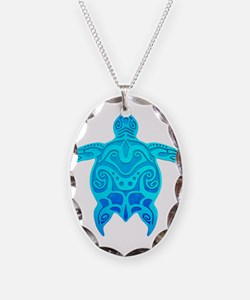 Blue Tribal Turtle Necklace