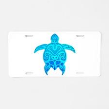 Blue Tribal Turtle Aluminum License Plate