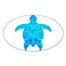 Blue Tribal Turtle Decal
