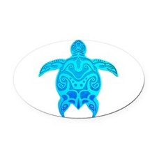 Blue Tribal Turtle Oval Car Magnet
