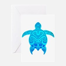 Blue Tribal Turtle Greeting Cards
