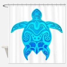 Blue Tribal Turtle Shower Curtain