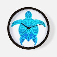 Blue Tribal Turtle Wall Clock