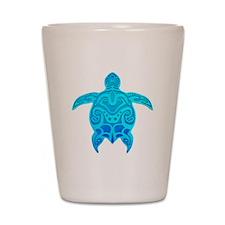 Blue Tribal Turtle Shot Glass