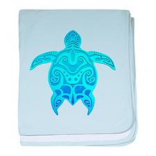 Blue Tribal Turtle baby blanket