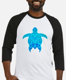 Blue Tribal Turtle Baseball Jersey