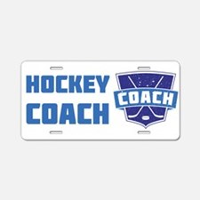 Hockey Coach Shield (blue) Aluminum License Plate
