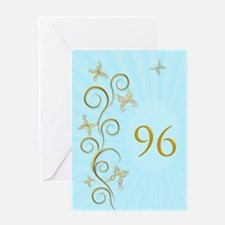 96th birthday, with golden butterflies Greeting Ca