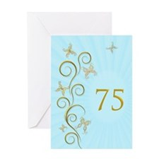 75th birthday, with golden butterflies Greeting Ca