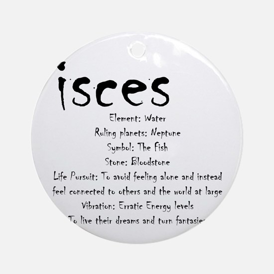 Pisces Traits Round Ornament