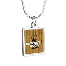Cowboys Rock Silver Square Necklace
