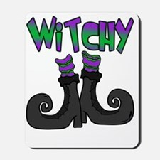 Witchy Cute Witch Boots Halloween Design Mousepad