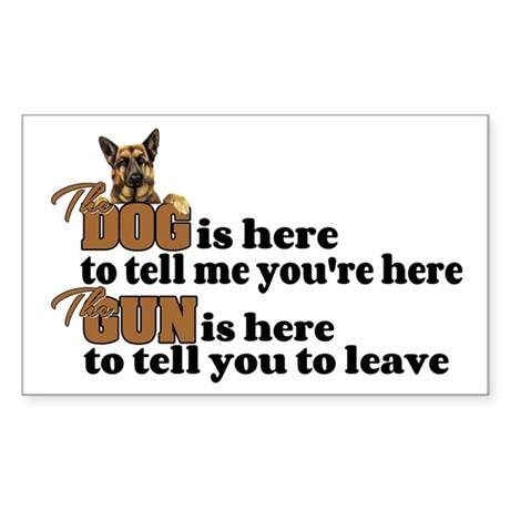 Beware of Dog/Gun (German Shep Sticker (Rectangle)