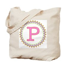Letter P Sherbert Zig Zag Tote Bag