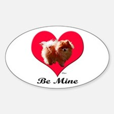 A Pomeranian Valentine Oval Decal