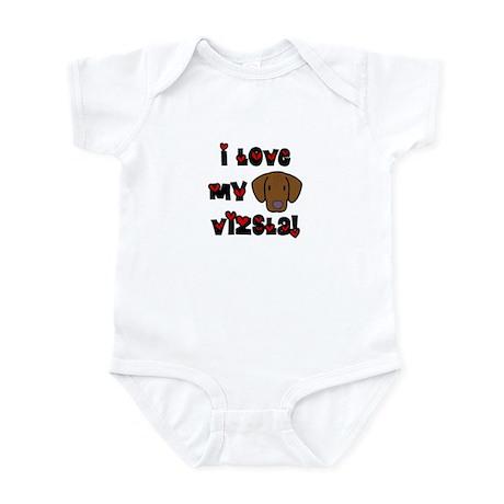I Love my Vizsla Baby Bodysuit (Cartoon)
