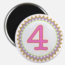 Number 4 Sherbert Zig Zag Magnet