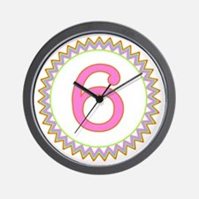 Number 6 Sherbert Zig Zag Wall Clock
