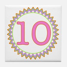 Number 10 Sherbert Zig Zag Tile Coaster