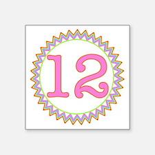 "Number 12 Sherbert Zig Zag Square Sticker 3"" x 3"""