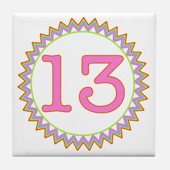 Number 13 Sherbert Zig Zag Tile Coaster
