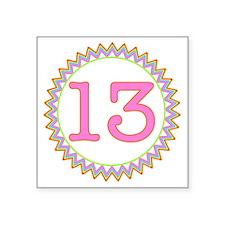 "Number 13 Sherbert Zig Zag Square Sticker 3"" x 3"""