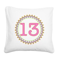 Number 13 Sherbert Zig Zag Square Canvas Pillow