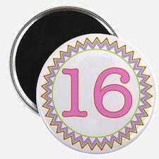 Number 16 Sherbert Zig Zag Magnet