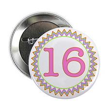"""Number 16 Sherbert Zig Zag 2.25"""" Button"""
