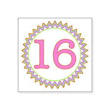 "Number 16 Sherbert Zig Zag Square Sticker 3"" x 3"""