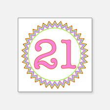 "Number 21 Sherbert Zig Zag Square Sticker 3"" x 3"""