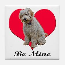 A Golden Doodly Valentine Tile Coaster