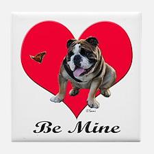 An English Bulldog Valentine Tile Coaster