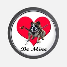 An English Bulldog Valentine Wall Clock