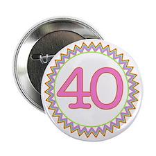 """Number 40 Sherbert Zig Zag 2.25"""" Button"""