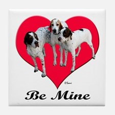 An English Pointer Valentine Tile Coaster