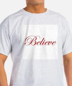 Red Believe Ash Grey T-Shirt