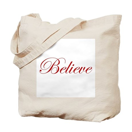 Red Believe Tote Bag