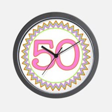 Number 50 Sherbert Zig Zag Wall Clock